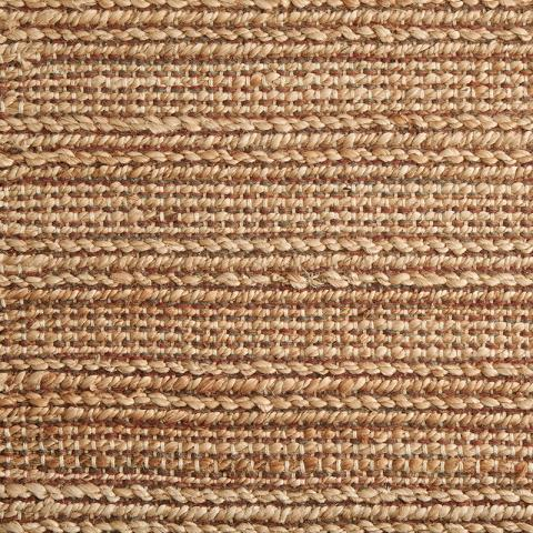 Suri Jute Blend Rug Collection in Brick with Narrow Cotton border in Granola
