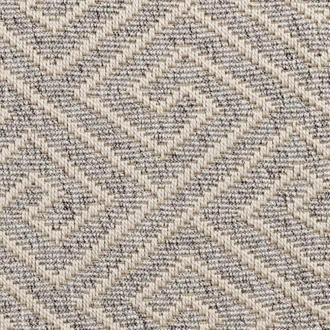 Gorda Outdoor Sisal Rug Collection in Heather with Narrow Cotton border in Alabaster