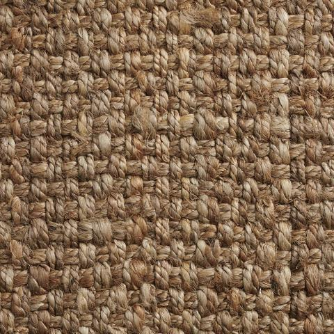 Basketweave Jute Rug Collection in Clay with Narrow Cotton border in Oatmeal