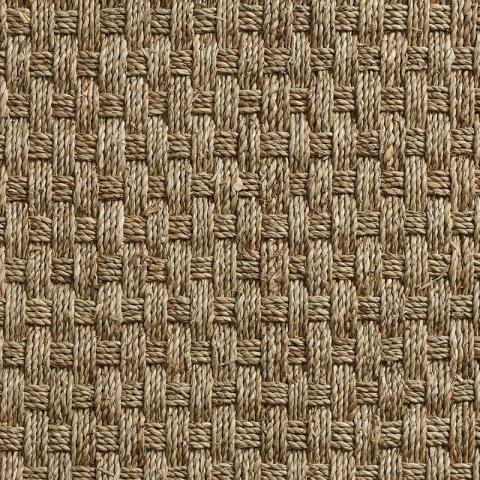 Seagrass Area Rug Collection in Seabasket with Narrow Cotton border in Pale Ash