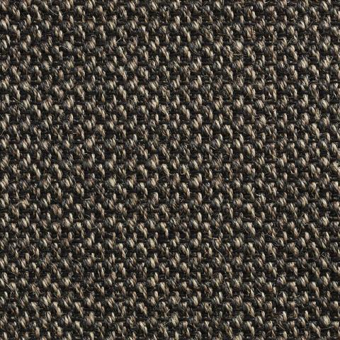 Zen Sisal Stain Resistant Rug Collection in Carbon with Narrow Cotton border in Black