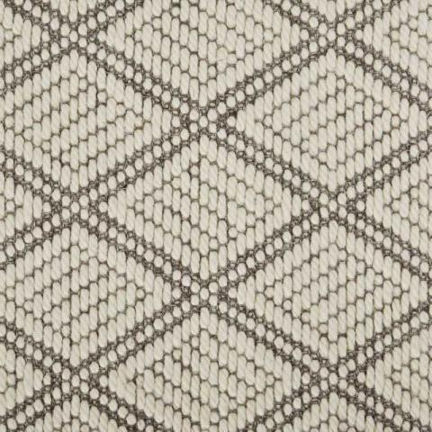 Diamond Wool Sisal Rug Collection in Dove with Narrow Cotton border in Quarry Rock