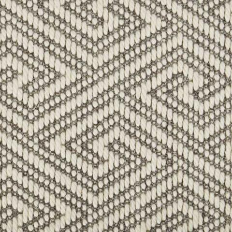 Key Wool Sisal Rug Collection in Dove with Narrow Cotton border in Quarry Rock
