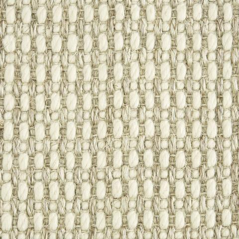 Merino Wool Sisal Rug Collection in Natural with Narrow Cotton border in Alabaster