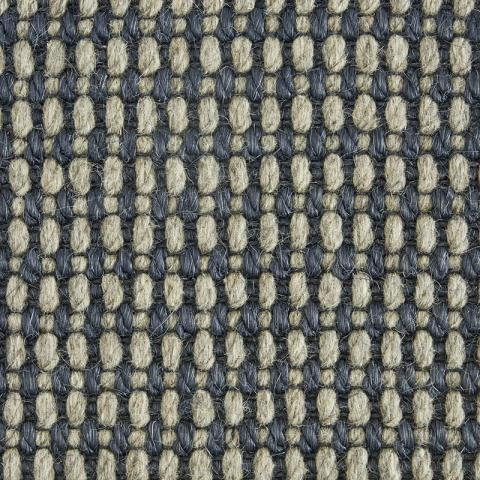 Merino Wool Sisal Rug Collection in Nautical with Narrow Cotton border in Navy