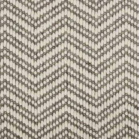 Wave Wool Sisal Rug Collection in Dove with Narrow Cotton border in Quarry Rock