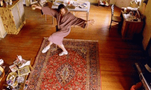 Old Man dancing on a rug