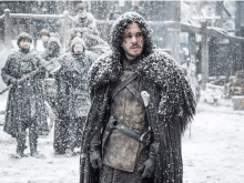 Jon Snow Wearing a Rug in the Snow