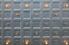 Metallic Ceiling Tiles and Light Fixtures