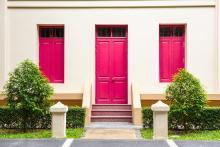 Bright Pink Front Door and Window Shutters